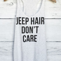Jeep Hair Don't Care Tank Top in Heather White