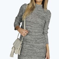 Louise Roll Neck Marl Knit Jumper Dress