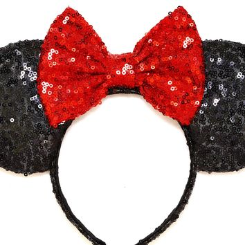 Black Sequin Ears and Classic Red Bow