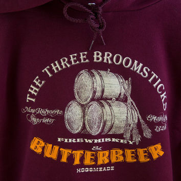 HARRY POTTER HOODIE. Have a Butterbeer with some friends at The Three Broomsticks. Unisex Maroon Cotton Hooded Sweatshirt