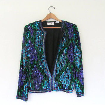 vintage sequins jacket / glam coat M