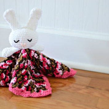 Bunny Rabbit Security Blanket Crocheted - Baby Blanket - Baby Toy - Bunny Blanket - Bunny Rabbit Toy - Crochet Sleepy Bunny