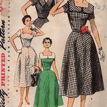 1950s Vintage Simplicity Sewing Pattern Rockabilly Swing Style Tea Dress Full Skirt Fitted Bodice Square Neck Collar Bust 36