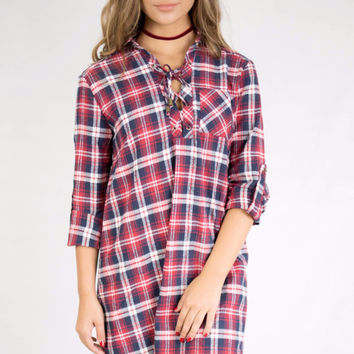 Burlington Red and Navy Plaid Swing Dress