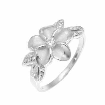 SILVER 925 HAWAIIAN 12MM PLUMERIA FLOWER 4 MAILE LEAF RING RHODIUM SIZE 3-10