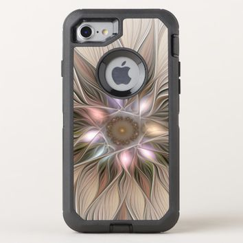 Joyful Flower Abstract Beige Brown Floral Fractal OtterBox Defender iPhone 8/7 Case