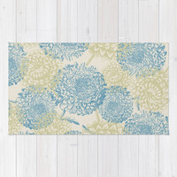 blue and green flowers Rug by sylviacookphotography