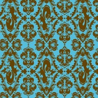 Mermaid Damask in Blue and Brown - rosalarian - Spoonflower