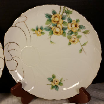 UCAGCO China Snack Plates Set of 4 Matching Yellow Rose Gilded Snack Plates Made in Japan Porcelain Hand Painted Mid Century Snack Plates