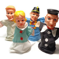 Hand Puppets . Girl, Boy, Police Man, Wizard . Set of 4 . 1960's Toy . Puppet Theatre Doll . Vintage Story Telling .