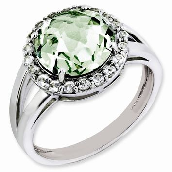 Green Quartz And White Topaz Halo Ring in Sterling Silver