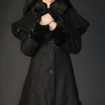 Dracula Clothing - Thick Winter Wool Coat Black