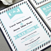Black and Teal Wedding Invitation Suite - Retro Wedding Invite Set Banner - Striped Wedding Pocket Invitation - Modern Wedding Invitations