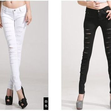 Women's Cotton Denim Ripped Punk Cut-Out Jeans