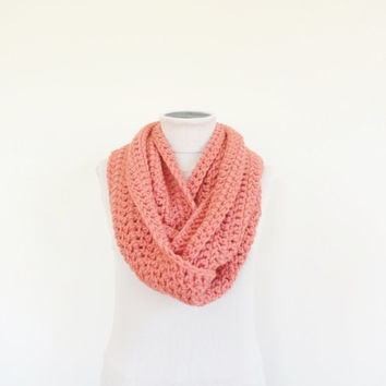 Extra Large Chunky Infinity Scarf Loop Circle Thick Knit Scarf Shawl Hood Coral / Women's Infinity Scarf / Men's Infinity Scarf