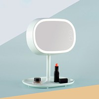 Taiyu Makeup Mirror /Table Lamp 2 IN 1 LED Lighted Makeup Mirror, Magnification LED Vanity Mirror with Touch Dimmer, Brighter and 180-Degree Rotation, USB Cable or Battery Powered (Pale green)
