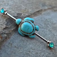 Turquoise Turtle Fire Opal Industrial Barbell 14ga Body Jewelry Ear Jewelry Double Piercing