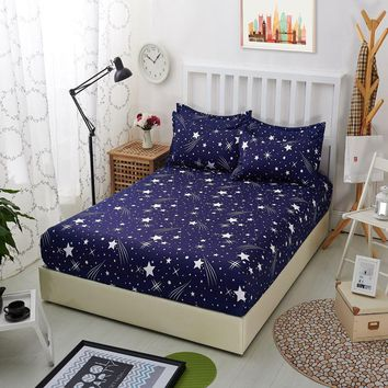 1pcs 100% Polyester Fitted Sheets Mattress Cover Blue Night Sky Printed Bedding Bed Sheet With Elastic Band Bedspreads Bedsheet