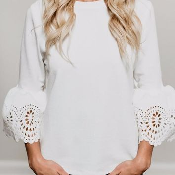 White Cut Out Round Neck Bell Sleeve Pullover Sweater