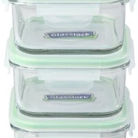 Kinetic GoGREEN Glassworks Series 6 Piece Square Oven Safe Glass Food Storage Container Set 15-Ounce Each (3 Containers and 3 Lids) 01332