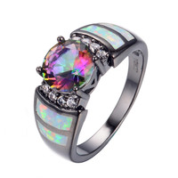 New Fashion Big Rainbow Opal & Crystal CZ Ring 10KT Black Gold Filled Vintage Jewelry Wedding Rings For Women Bague Femme RB0273