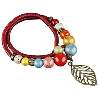 Ovonni Mix M01 color beaded Leaf necklace (Red)