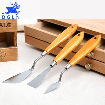 Bgln 3Pcs Mixed Stainless Steel Palette Scraper Set Spatula Knives For Artist Oil Painting Tools Painting Knife Blade
