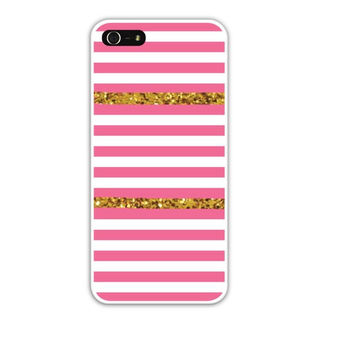 Pink Stripes with Gold Glitter Cell Phone Case Cover Apple iPhone 4 4S 5 5S Samsung Galaxy S3 S4 Striped Stripe Spring Summer FREE SHIPPING!