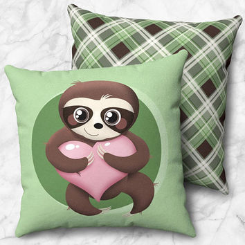 Happy Sloth Throw Pillow - Cute Sloth Holding Pink Heart - Green Plaid Backside - Size Options - Cover Only or Full Pillow - Made to Order