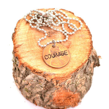 """Courage""  Penny Necklace"