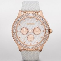 MULTI-FUNCTION LEATHER STRAP WATCH - WHITE at Express