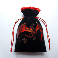 Premium Dragon Velvet Dice Bag with Satin Lining for Dungeons & Dragons, dnd,  also can be used as a velvet jewelry bag