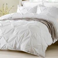 Pinch Pleat Design White Comforter and Duvet Bedding Set
