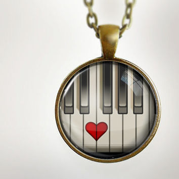 Piano Heart : Glass Dome Necklace by HomeStudio. 24 inch chain included. Round art pendant jewelry. Piano player. Keyboard player. Pianist