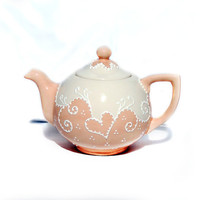 Peach teapot  hand painted with lace dotting by Dprintsclayful