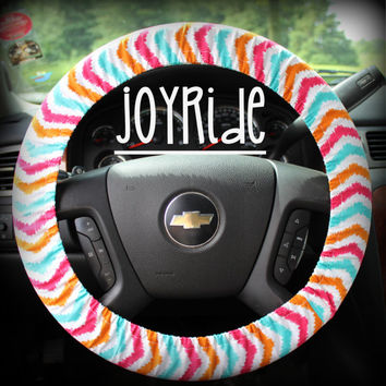 Steering Wheel Cover Coral Teal Turquoise Chevron Ikat Tribal