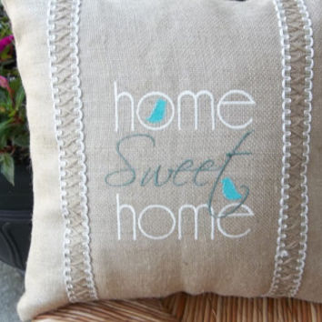 "Home Sweet Home"" Burlap Embroidered Pillow 17"" x  17 , Decorative pillow, Cottage Style pillow, Mothers Day pillow, housewarming gift"