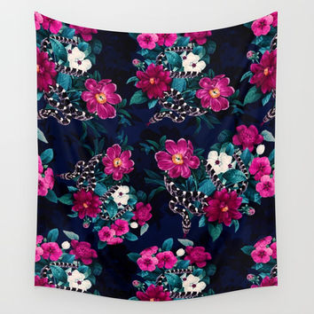 Snakes and Flowers Wall Tapestry by emeliaa