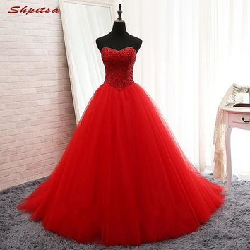 Red Long Prom Dresses Beaded Tulle Party Dresses for Graduation Formal Evening Gowns Dresses vestidos de formatura