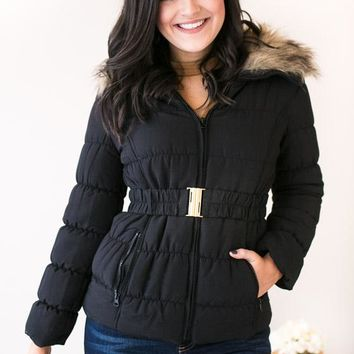 Puffing Season Quilted Jacket With Fur- Black
