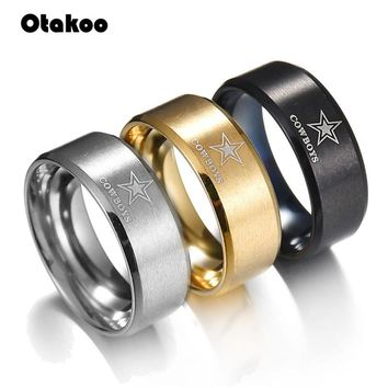 Otakoo New Design Dallas Cowboys Team Ring Titanium Steel Unisex Black Gold Color  Jewelry Sport Style For Rugby Fans Gifts