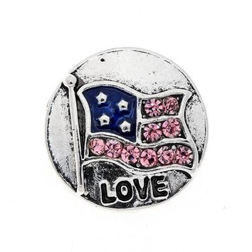 10pcs/lot Pink Crystal Metal Snaps 18mm Love U.S Flag Buttons Fit Snap Leather Bracelet Jewelry Findings