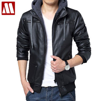 winter removable hooded Coat Mens hoody Jackets outwear slim fit leather jacket Man transverse leather coats