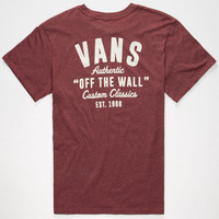 Vans Custom Classics Mens T-Shirt Burgundy  In Sizes