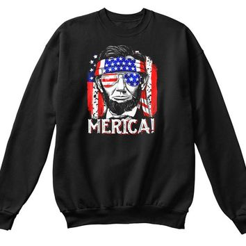 Merica Abe Lincoln T Shirt 4th Of July American Flag Murica