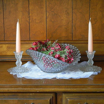 Duncan and Miller Clear Hobnail Oval Bowl and Candlestick Holders - Antique Centerpiece