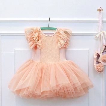 Peach Sequin Tulle Dress