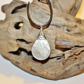 Mother of Pearl and Sterling Teardrop Pendant on Black Leather Cord