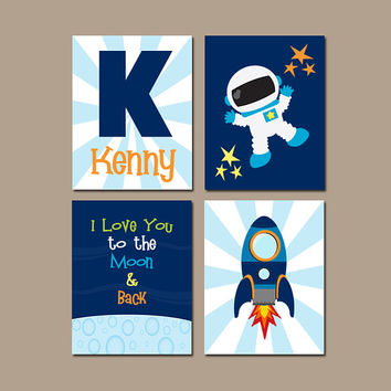 SPACE Wall Art, Outer Space Theme Bedroom Pictures, Astronaut Rocket, Boy Nursery Artwork, CANVAS or Print, I Love You to the Moon, Set of 4