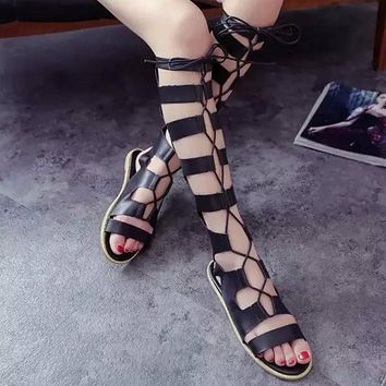 European Style Strappy Bandage Lace Up Knee High Flat Sandals
